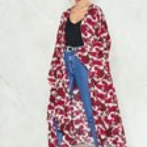 Nasty Girl M/L Good Girl Red Floral Kimono S2